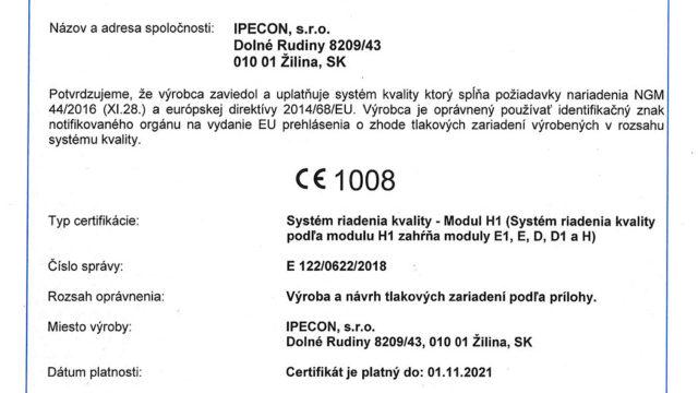 Modul H - certifikát